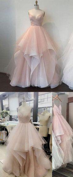 2018 Pink v neck tulle long prom dress, pink evening dress,PD1911 #seoydress #promdress #prom #shopping #fashion #dresses #eveningdress