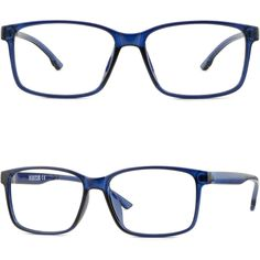 Light Flexible Plastic Frame Square Men's Women's Prescription Glasses Navy Blue #Unbranded