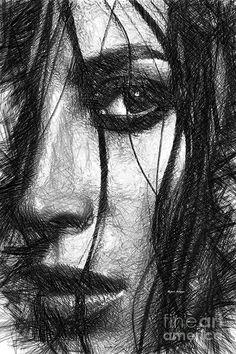 Woman Sketch In Black And White Digital Art by Rafael Salazar