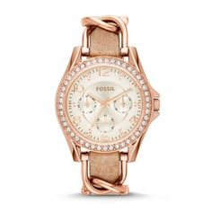 Women's Watch, Riley multifunction rose gold stainless steel and leather watch 18 mm ES3466P #fossil