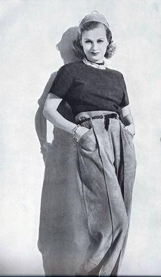 Joan Bennett vintage fashion style color photo print ad model magazine 40s