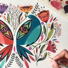 Working on this folk colorful birds... / trabajando en algo muyyy folk! @coloranimalcl @winsorandnewton #polishfolk #polishfolkart #painting #folk #folkart #birds #pajaros #santiago #art #artist #love #artwork #fun #colors #bird #nature #flowers #floral #instapic #color#acrylic#instadaily #instamood #beautiful #flores #instagood #instagram #goauche #naturaleza #art_we_inspire
