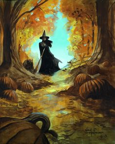 Mike Hoffman Spooky Scary Halloween Canvas Giclee Print THE WITCH WALK