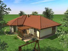 Egyszintes családi ház 155 m2 | Családiházam.hu Spanish Style Homes, Small House Design, Home Design Plans, My Dream Home, Cribs, Gazebo, Entrance, House Plans, Cottage