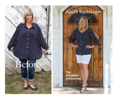 some pretty amazing clothing transformations Sewing Clothes Women, Sewing Pants, Diy Clothes, Clothes For Women, Renegade Seamstress, Diy Vetement, Polka Dot Shirt, Altering Clothes, Clothing Hacks