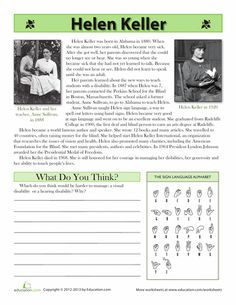 Learn more about the awe-inspiring Helen Keller and her life in this social studies and reading worksheet. Social Studies Worksheets, Reading Worksheets, Worksheets For Kids, Reading Passages, Reading Comprehension, Helen Keller Biography, Inspirational Articles, 4th Grade Reading, Teaching Reading