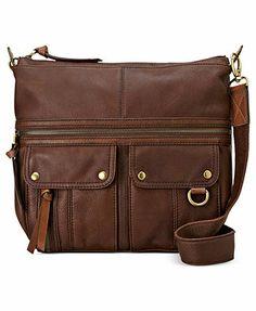 Fossil Handbags, Morgan Leather Top Zip Crossbody