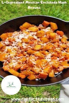 Side Dish Recipes, New Recipes, Yummy Recipes, Side Dishes, Vegan Recipes, Mexican Enchiladas, Vegan Enchiladas, Hash Browns, Vegetarian Main Course