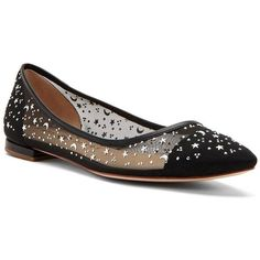 Katy Perry Selena Embellished Ballet Flats ($74) ❤ liked on Polyvore featuring shoes, flats, black, embellished flats, ballet shoes, black flats, black ballet shoes and flat shoes