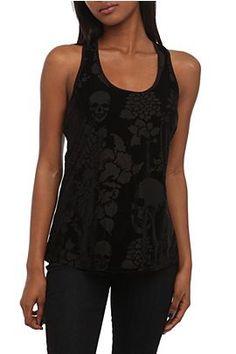 Teenage Runaway Black Velvet Skull Floral Burnout Tank Top @ HT