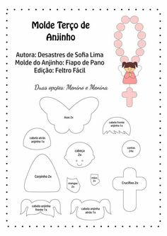 Disclosure of felt templates, tutorials, ideas and inspirations! Felt Patterns, Sewing Patterns, Felt Crafts, Diy And Crafts, Felt Angel, Free To Use Images, First Holy Communion, Felt Dolls, Felt Art