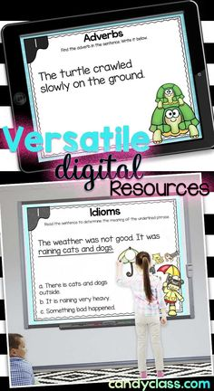 These digital resources geared for primary classrooms can be used on tablets, computers, and even projected on a white board! Find many engaging language art digital resources covering grammar, vocabulary, and phonics! Vocabulary Activities, Writing Activities, Classroom Activities, Kindergarten Anchor Charts, In Kindergarten, Primary Classroom, Google Classroom, 5th Grade Writing, Teaching Tips
