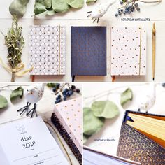 handmade diary with geometric metalic ornaments