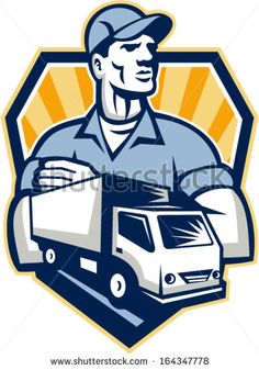 Illustration of a removal man delivery guy with moving truck van in the foreground set inside shield crest done in retro style. - stock vector #delivery #retro #illustration