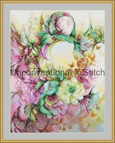 Floral cross stitch pattern - modern counted cross stitch - Vivacious Extract - Licensed Angela AK Westerman by UnconventionalX on Etsy