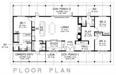 Floorplan for the new home- 3 bed/2 bath/study/playroom.  2nd bedroom for Boys' bunk.  3rd bedroom for guest/sitting room.  Study to have sliding barn doors.  Wrap around porch.