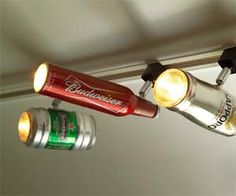 The Ultimate Man-Cave Lighting System: Beer Can Track Lights lights beer cans man cave Man Cave Lighting, Basement Lighting, Bathroom Lighting, Man Cave Diy, Man Cave Home Bar, Man Cave Basement, Man Cave Garage, Garage Bar, Garage Ideas