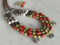 Chunky vintage style cascade necklace set brick red by powerofgems