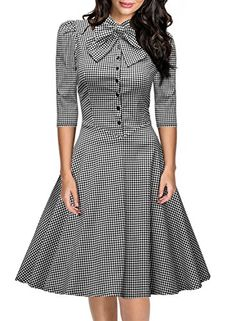 Miusol Women's Official Bow Neck Plaid Slim Half Sleeve Vintage Dress Miusol http://www.amazon.com/dp/B016Q6OP2U/ref=cm_sw_r_pi_dp_QqyLwb16BAGVP