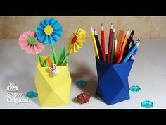 Origami Vase aus Papier oder Bleistifthalter. - YouTube