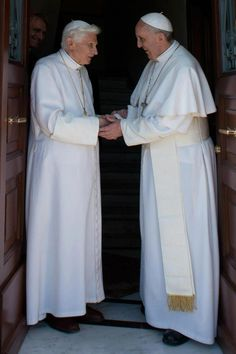 Benedict, the Pope Emeritus, is back at the Vatican! Here Pope Francis greets his predecessor.