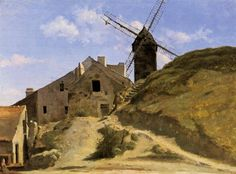 A Windmill in Montmartre  c. 1845 by Jean-Baptiste-Camille Corot