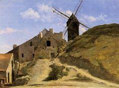 Jean-Baptiste Corot >> un molino de viento en montmartre. Oleo, obra de arte.