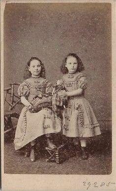 CDV Victorian Twin Girls Plaid Dress Doll Fashion Turner Co of London 1870s | eBay