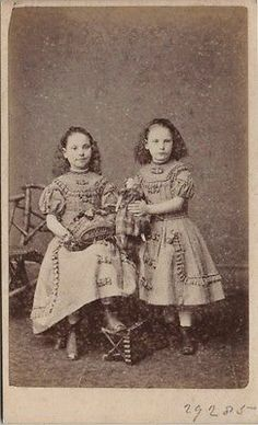 CDV Victorian Twin Girls Plaid Dress Doll Fashion Turner Co of London 1870s | eBay