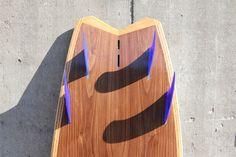 hollow wood surfboard, fishtail