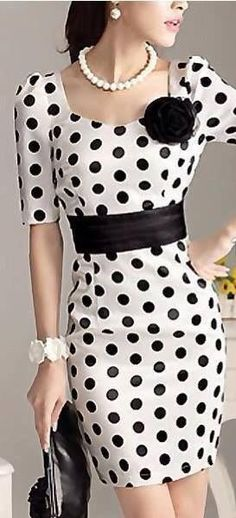 Stylish Dot women's dress slim fit bowknot evening dresses Short Sleeve party skirts With brooch S-XXL Dress Outfits, Fashion Dresses, Dots Fashion, Estilo Fashion, Facon, Mode Style, Dot Dress, Spring Summer Fashion, Beautiful Dresses