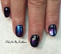 "36 Likes, 1 Comments - Nail Art By Kathleen (@nailartbykathleen) on Instagram: ""Blue and Purple Chrome over Black #nails #nailart #naildesign #chromenails #blacknails #nailist…"""