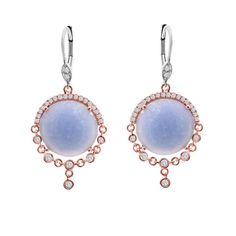 Rose gold earrings with blue chalcedony and diamonds by Miera T