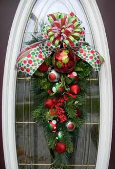 "teardrop swag | Teardrop Vertical Door Swag Wreath Decor..""Polka Dot Christmas"""