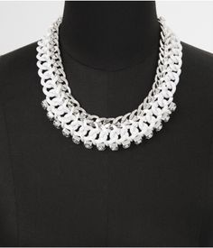 MIXED STATUS LINK AND RHINESTONE NECKLACE   Express