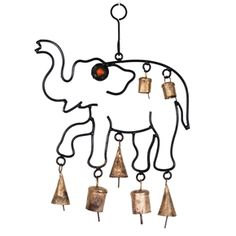 Wrought Iron Elephant Hanging with brass bells. Marigold, Wrought Iron, Elephants, Make It Simple, Create Your Own, Brass, India, Ebay, Goa India