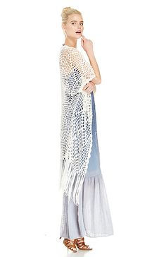 Crochet Fringe Kimono in Cream S - L   DAILYLOOK