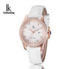 И . к . марка мода свободного покроя кварцевые часы женщины кожаный ремень горный хрусталь 100 м водонепроницаемый бизнес классические женские наручные часы купить на AliExpress