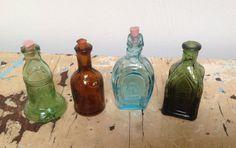 Vintage miniature bottles set of 4 by karmolijntje on Etsy