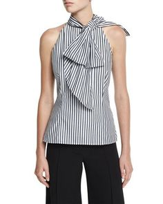 MILLY Striped Shirting Halter Top, Black. #milly #cloth #