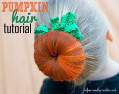 Add a little Halloween fun to your hair with this pumpkin bun tutorial! Costume Halloween, Art Halloween, Halloween Costumes For Girls, Halloween Pumpkins, Halloween Shirt, Kids Pumpkin Costume, Halloween Pumpkin Makeup, Costumes Kids, Halloween Season