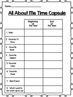 This download is perfect for a back to school activity, but it's great because you can use it again at the end of the year! It's a time capsule to see how the students have changed throughout the school year!  Hope you love this! I use it with my second graders every year!