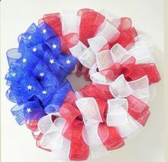 Patriotic Deco Mesh Wreath Project - learn how to make this cute decoration for Memorial Day or Fourth of July!