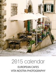 2015 European Cafes Desk Calendar featuring gorgeous cafes around Italy, Copenhagen, Paris and more.