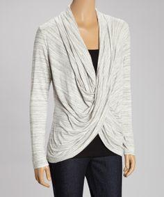 heather gray cowl neck top