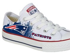 Hand Painted Converse. New England Patriots, Football. NFL. Sports.