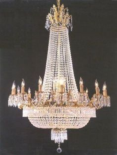 "Swarovski Crystal Trimmed Chandelier! French Empire Crystal Chandelier Lighting H90"" X W60"" 36 Lights - A81-1280/24+12 SW"