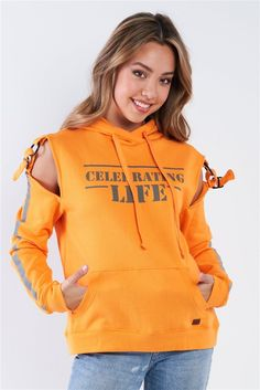 "Orange Cold Shoulder ""Celebrating Life"" Hoodie Small Waist, Hoodies, Sweatshirts, Workout Tops, Comfy Casual, Cold Shoulder, Graphic Sweatshirt, Hang Tags, Celebrities"