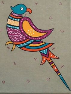 Risultati immagini per easy madhubani paintings to draw Art Painting, Mural Painting, Art N Craft, Painting, Indian Folk Art, Art, Madhubani Painting, Folk Art Painting, Bird Art