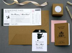 Boarding pass invitations on trend and at an affordable price of $3.50 each #deaandbean #weddinginvitations #etsy